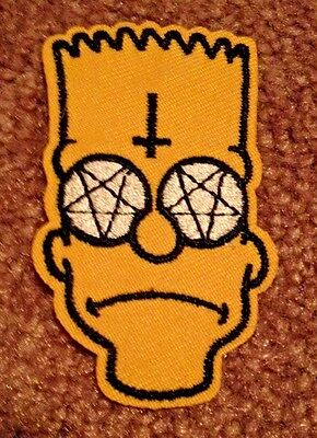 BART SIMPSON PATCH -  HEAVY METAL BART ! - Anarchy Symbol  homer marge simpsons