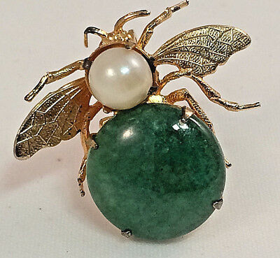 Dyed Jadeite and Pearl Bee/Insect Brooch