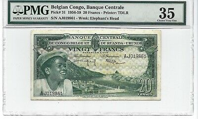 P-31 1957 20 Francs, Belgian Congo, Banque Centrale, PMG VF35 Nice!