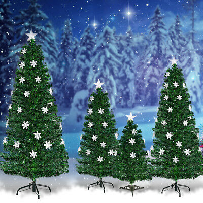 3ft 4ft 5ft 6ft Fiber Optic Christmas Tree Color Changing Snowflake Decoration