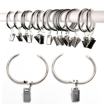 20pcs Stainless Steel Window Curtain Clothes Metal Clips with Drapery Ring Hook