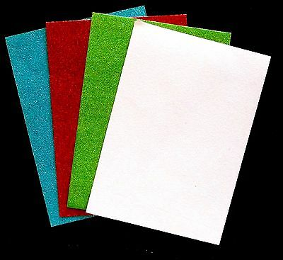 CHRISTMAS COLOURS GLITTER CARDSTOCK PIECES MATS TOPPERS BACKGROUND LAYERS x 4