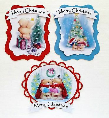 TOPPER PACK X 3 CUTE CHRISTMAS BEARS CARD TOPPERS with shaped layers