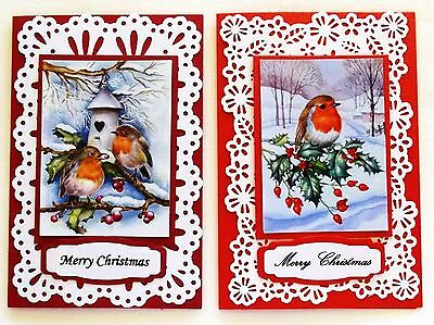 Card Pack X 2 Red Cards Christmas Card Front & Cute Robin Toppers