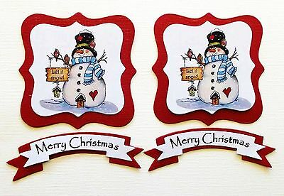 Christmas Card Toppers X 2 Sets Die Cut Snowmen With Sentiments