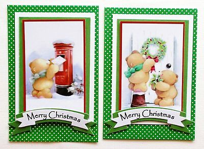 Topper Pack X 2 Christmas Bears Card Front With Green Layers & Sentiment