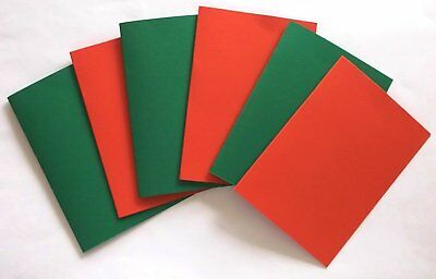 Set Of 6 Blank Christmas Cards A6 Red & Green 3 Of Each Colour