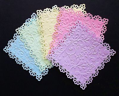 EMBOSSED ELEGANT MIXED PASTEL CARD TOPPERS x 5 FOR 5 INCH SQUARE CARDS