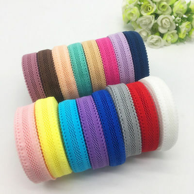 "5yds 5/8""(16mm) Bilateral Lace Grid Fold Over Elastic Spandex Lace Band #UK"