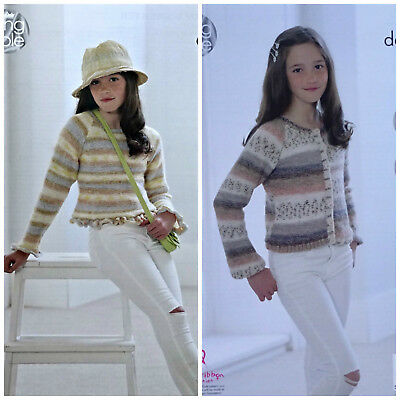 KNITTING PATTERN Girls Frill Edge Jumper and Cardigan Splash DK King Cole 4953