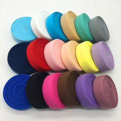 """5 Yards 1"""" (25mm) Multirole Fold Over Elastic Spandex Satin Band Ties Pick Color"""