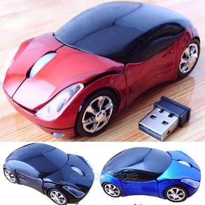 LED 3D 1600DPI 2.4G Wireless Optical Car Mouse Mice For PC Laptop+USB Receiver