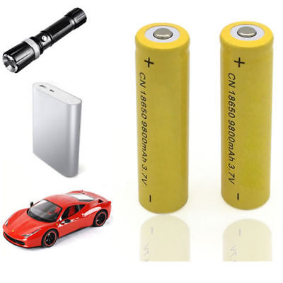 2X 18650 9800mAh Li-ion 3.7V Rechargeable Battery For Flashlight Torch Hot