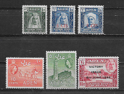 Aden , Kathiri , Quaiti , Lot Of 6 Stamps , Perf , Mnh