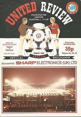 Football Programme - Manchester United v Videoton - UEFA Cup - 6/3/1985