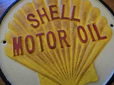 Fabulous Large  Heavy Cast Iron Wall Plaque Advertising Sign *shell Motor Oil*