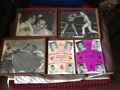 2x vintage boxing programme with 3 framed photos