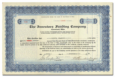 Investors Funding Company Stock Certificate - Boston Celtics, Ballantine Beer