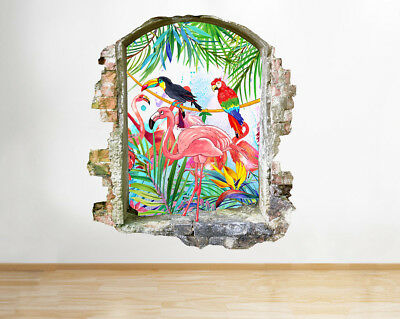 Wall Stickers Flamingo Birds Tropical Hall Smashed Decal 3D Art Vinyl Room G831