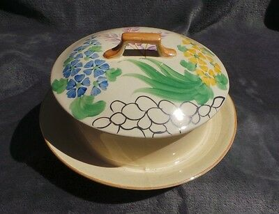 Wade Muffin Dish / Cheese Dish Round - Art Deco - Hand Painted