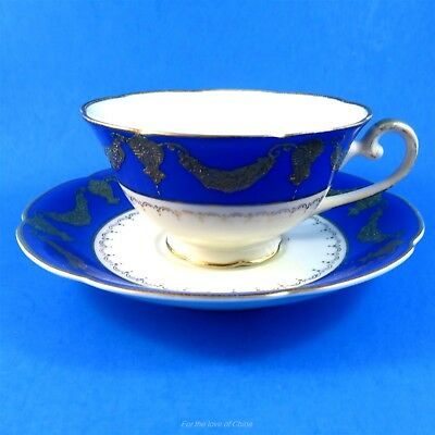 Electric Blue with Raised Gold Diamond China Occupied Japan Tea Cup and Saucer