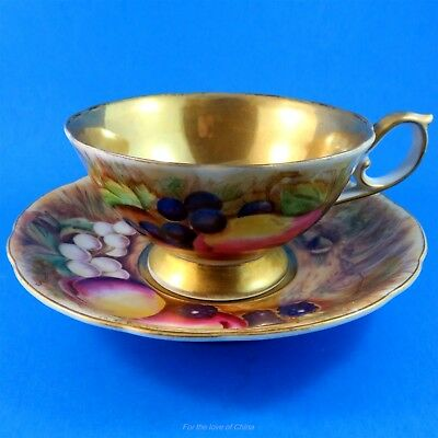 Hand Painted Gold Center with Fruit Design Occupied Japan Tea Cup and Saucer Set