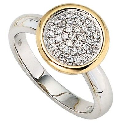 Damen Ring 585 Gold Weißgold Gelbgold bicolor 40 Diamanten Brillanten Goldring [