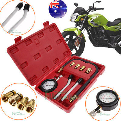Petrol Engine Compression Test Gauge Automotive Motorcycles Tester Kit Tool Set