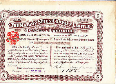 The Maikop Spies Company Limited-5 shares-London 1910