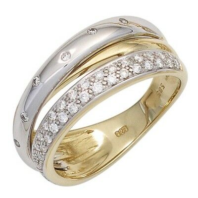 Damen Ring 585 Gold Gelbgold Weißgold bicolor 41 Diamanten Brillanten Goldring [