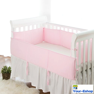 Baby Crib Bumper Pad Set Girl Boy Pink Blue Breathable Mesh Pads 4 piece Bumpers