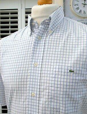 Lacoste White Check Button-Down Shirt - L/XL - Size 42 - Ska Mod Scooter Casuals