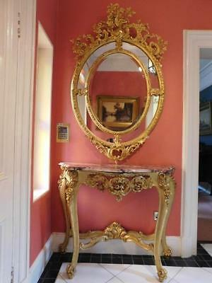 A Good French Antique Gilt Ornate Console Hall Table
