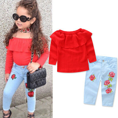 Floral Toddler Kids Baby Girl T-Shirt Tops+Denim Jeans Pants Clothes Outfit Set