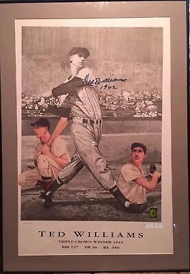 Ted Williams Signed Custom Framed Color Print Watkins #463/521 Coa  27.25× 38.75