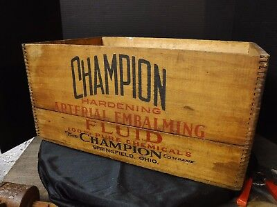 Antique CHAMPION Hardening Arterial Embalming Fluid Bottle CRATE Box Funeral
