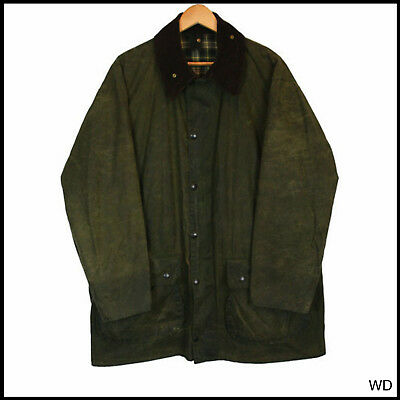 Vintage Barbour Border Country Green Wax Jacket Coat C 44 Xlarge