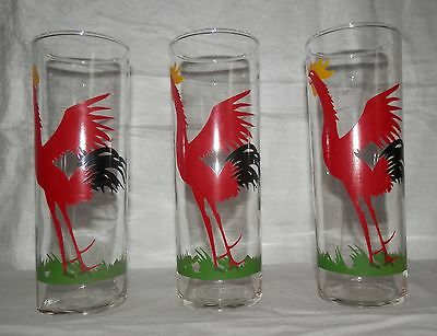 Vintage Federal Glass-Rooster Highball Glasses