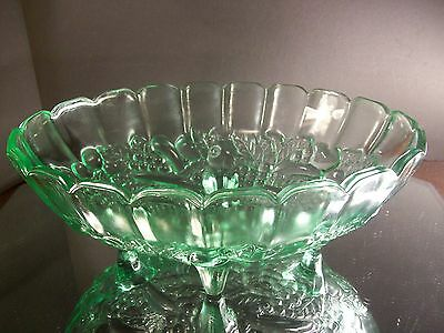 Large Vintage Vaseline Glass? Serving Bowl With Legs