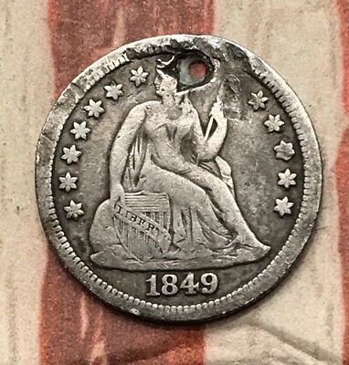 1849 10C Seated Liberty Dime 90% Silver Vintage US Coin #FD7 Sharp Rare Key Date