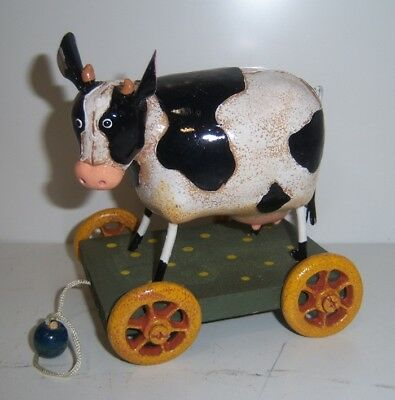 Ganz Metal Cow On Wood Cart Pull Toy - Vintage