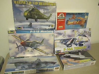 Lot of 6 Model Kits  F-14A Tomcat PT-17 Shuttle P-51 UH-34 D Helicopter Yorktown