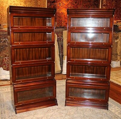 Beautiful Brass Bound Sectional Beveled Glass Mahogany Barrister Bookcase 1 of 2