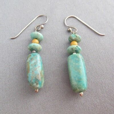Vintage Old Pawn Sterling Green Turquoise Dangle Pierced Earrings 7.4G
