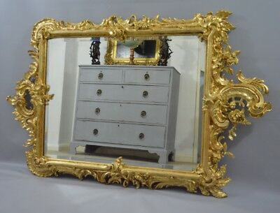 Large Victorian Ornate Gilt Gesso Mirror
