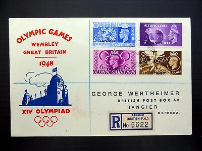 TANGIER 1948 Olympic Games (4) on Souvenir Registered FDC NB4083