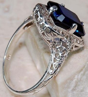 Ring Sterling Silver Blue Sapphire Cocktail Dress size U Gift Mother Xmas