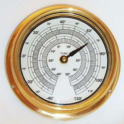 Thermometer In A Solid Brass Or Chrome Case ( Weighs 1/2 Kg )