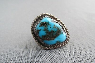 Vintage Old Pawn Sterling Chunky Nugget Turquoise Pin Lapel Tie Tack 3.7G
