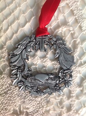 """Christmas Ornament Pewter Angels And Cross 2""""  CTA Made In El Salvador"""